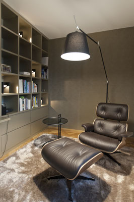 Bibliothek, Bücherwand, Regal, Lounge Chair