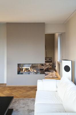 Wohnzimmer, Bibliothek, Kamin, Cheminee, Parkett, Kassettenparkett, Lounge Chair