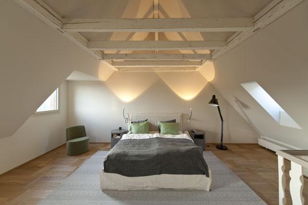 Schlafzimmer, Dachstock, Parkett, Bauwerk, Formpark