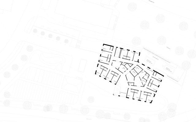 Grundriss Regelgeschoss Wettbewerb Altersheim Huttwil