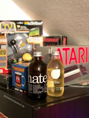 Wir genießen Chari Tea mate sparkling und Chari Tea green in Männerquatsch Podcast Folge #42 (Goldene Wii der Queen, Metroid Prime 4, Ghostbusters 3)