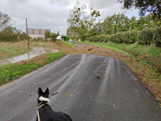 Straßenüberflutung in Saint-Germain-sur-Ay