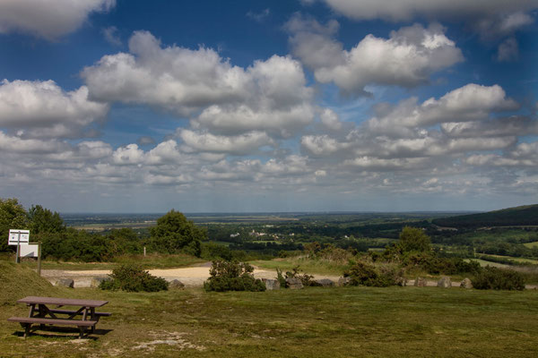 Blick vom Gipfel des Mont Doville auf die Marais