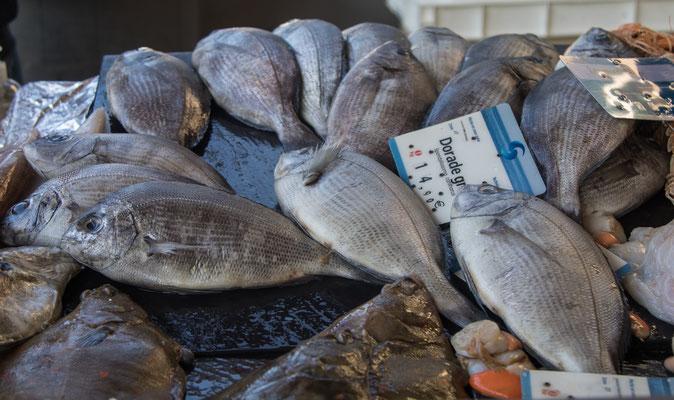 In der Markthalle in Saint Lô bieten die Fischer der Region fangfrischen Fisch und Meeresfrüchte.