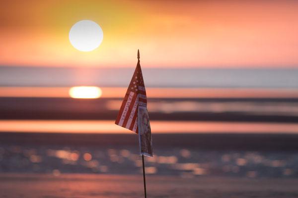 Bei Sonnenaufgang an Utah Beach.