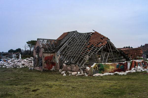 """Village Fantôme"" in Pirou-Plage, Sehenswürdigkeit, Normandie"