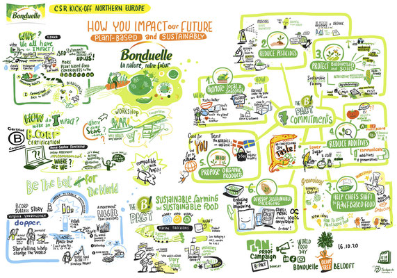 Remote Graphic Recording on Corporate Social Responsibility, Bonduelle Northern Europe