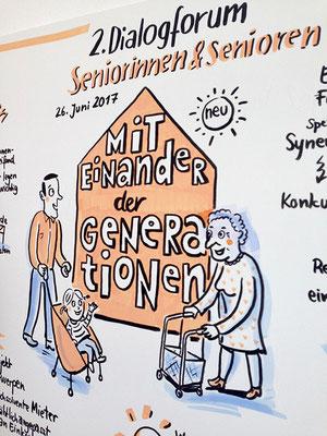 """Teil eines Graphic Recordings der Veranstaltungsreihe: Hessen hat Familiensinn """" 2. Dialogforum Seniorinnen & Senioren"""" (Sabine)"""