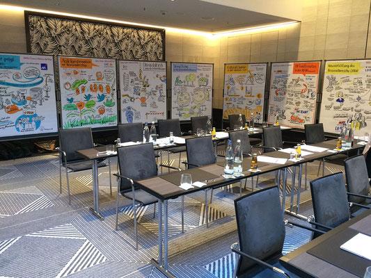 Bankenkonferenz der Unternehmensberatung WillisTowersWatson. Scribing der Vorträge der Vorstände von Banken und Versicherungen zu Themen wie Regulatorik, Vergütung, Cultural Change, HR- Transformation,  Personalentwicklung, Agilität, Transparenz (Sabine)