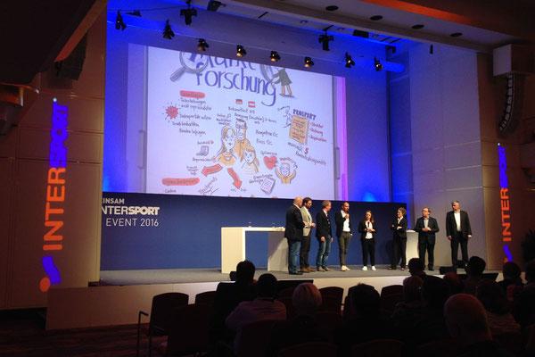 Mehrtägiges Graphic Recording für die Konferenz Gemeinsam Intersport. Jahresabschluss Event für Partner in Deutschland, Österreich, Schweiz (Sabine