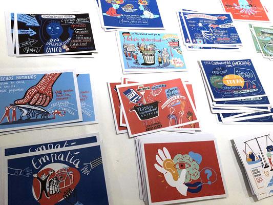 Digitales iPad Graphic Recording einer internationalen Tagung von Engagement Global zu kommunalen Partnerschaften mit Südamerika. Spanisch/Deutsch. Die 20 Motive wurden vor Ort als Postkarten gedruckt (Florence)