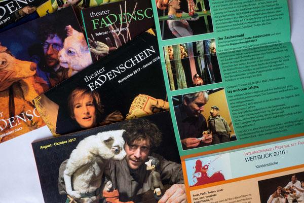 Fadenschein_Programme, seit den 90iger Jahren ist Wolters-Design für die Gestaltung der Programme und Flyer zuständig.