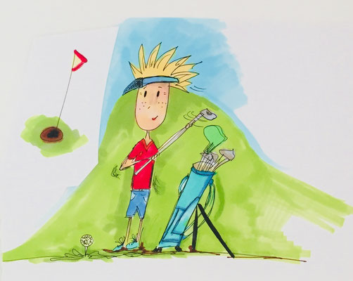 Illustrationen Sport, Golf, Golfspieler