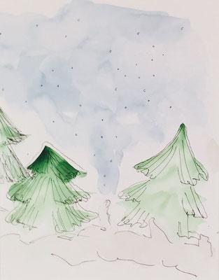 Illustrationen Weihnachtsmotive, Weihnachten, Tannen
