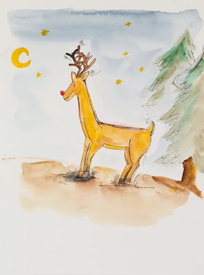 Illustrationen Weihnachtsmotive, Weihnachten, Tannen, Rudolph-The-Red-Nosed-Reindeer