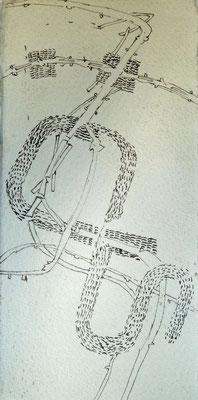 08.12.2015 Tuschezeichnung (Blister ,Stahlfeder ) auf Bütten( 6cm x15cm )
