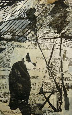 08.12.2015  Tuschezeichnung Stahlfeder Sepia Deckweiß auf Karton (6cm x 15 cm)