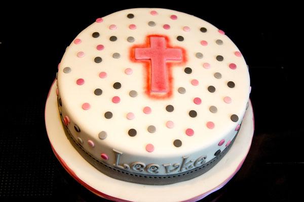 Tauftorte für ein Mädchen- rosa mit Glitzer!
