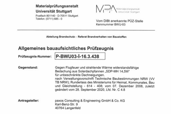 Bauaufsichtliches Zeugnis der MPA Stuttgart