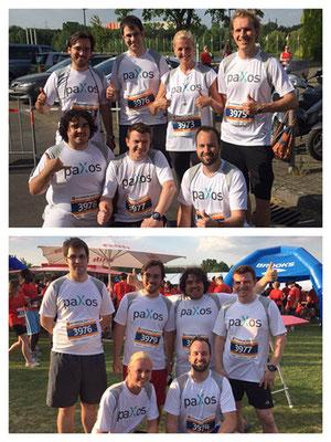 paXos Laufteam vor dem Start und nach dem Zieleinlauf