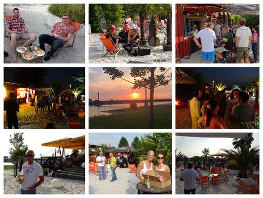 Collage Sommerfest mit Strandbar und Sonnenuntergang