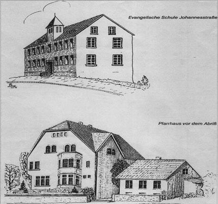 Herrensohr, Johannesstraße, evang. Schule und Pfarrhaus