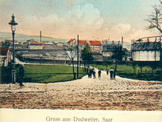 Dudweiler um 1910, Herrensohrer Weg mit Schlachthof und Gaswerk