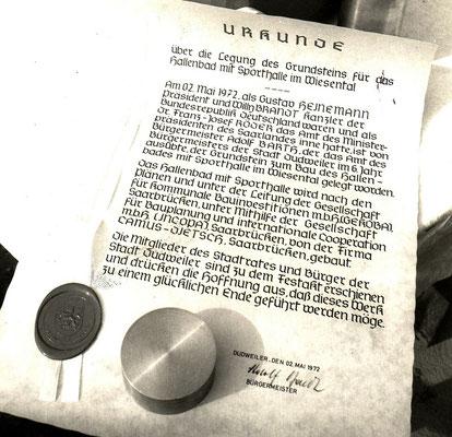 Grundsteinlegung Urkunde