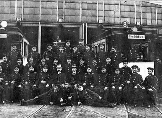 Jägersfreude 1918, Beschäftigte der Straßenbahn