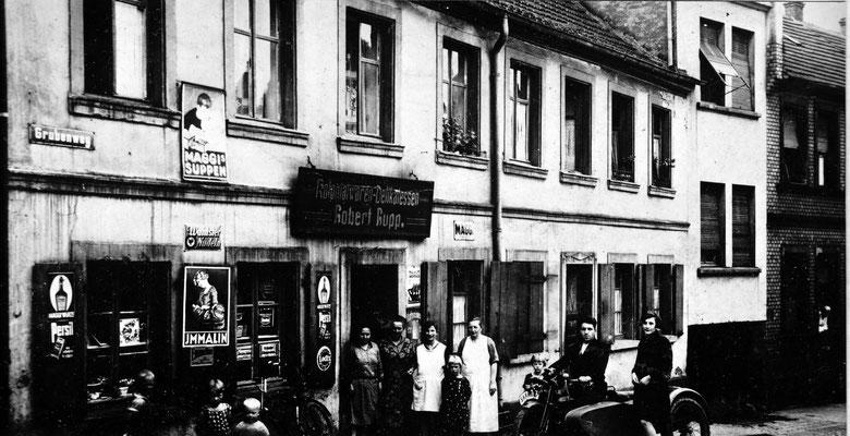 Jägersfreude 1931, Grubenweg, Lebensmittel Rupp.  Foto: Archiv Wahl, Slg. Haag