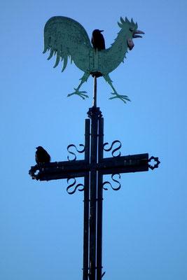 Dudweiler, Kath. Pfarrkirche St. Marien,Turmkreuz mit Wetterhahn
