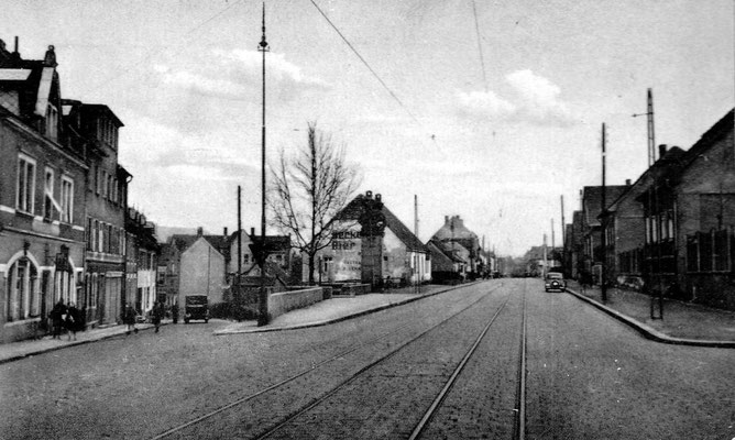 Jägersfreude, Hauptstraße/Weiherstraße 1935.  Foto: Archiv Wahl, Slg. Haag