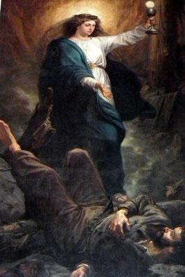 Dudweiler, St. Marien, Das St. Barbara-Bild wurde 1865 von August von Heyden aus Berlin gemalt