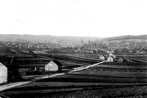 Dudweiler um 1900, Blick zum Alten Stadtweg