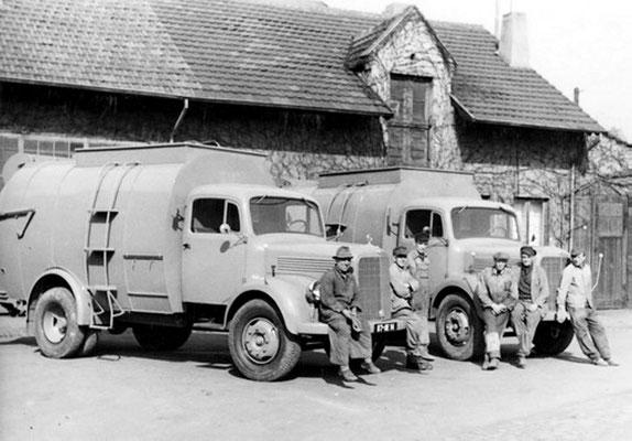 Dudweiler 1950, Bauhof mit Müllfahrzeugen