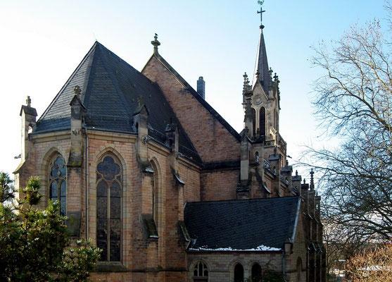 Dudweiler, Kirche, St. Marien, Rückansicht