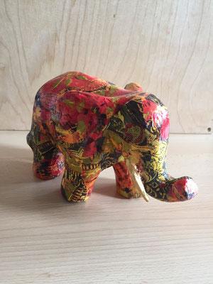 Pappmache Elefant mit Decopache Papier