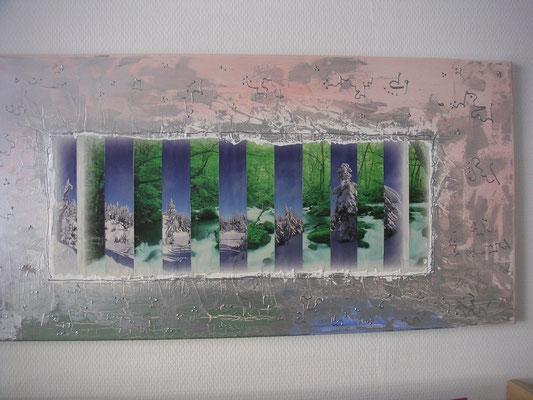2 Bilder in einem-Bildschnitt mit Acrylfarbe-Strukturpaste und Wandfarbe