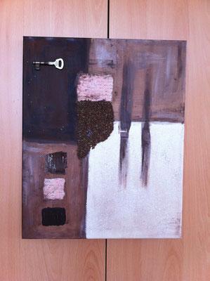Collage mit Kaffeebohnen und versch. Materialien