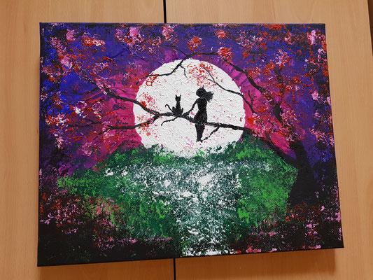 Acrylfarbe mit Alufolie aufgetragen
