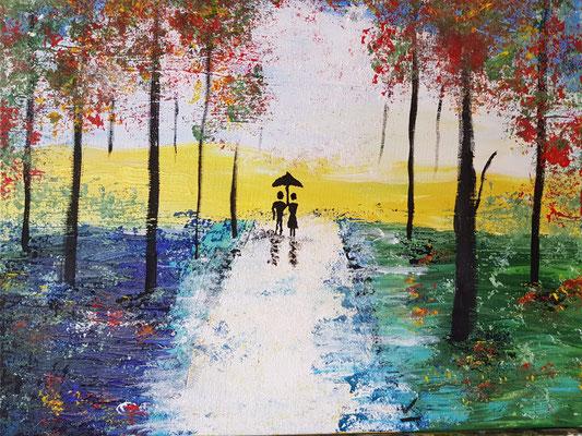 Acrylfarbe malen mit Alufolie aufgetragen