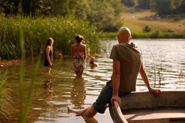 Baignade au lac de la Thuile avant le resto du soir
