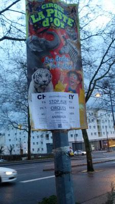 affichage sur les pancartes des cirques