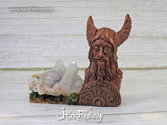 Busto vikingo Odín con cristal, Busto De Dios Vikingo Odín, Estatua escultura de Odín