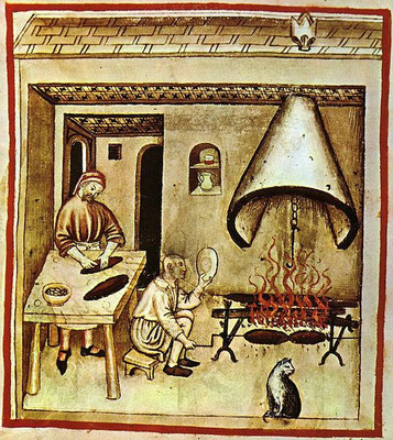 Küchendarstellung, Tacuinum Sanitatis, 15. Jahrhundert