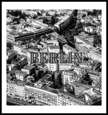 poster berlin - city - din a4 - din a3 - schwarz weiß poster - stadt fotografie