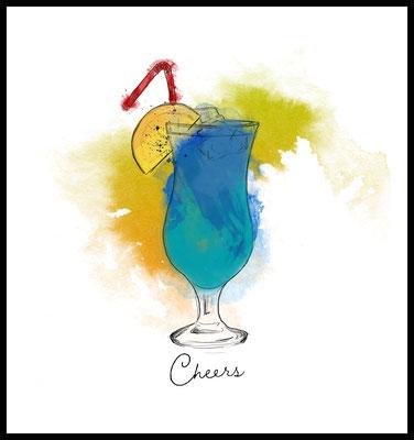 swimmingpool premium poster - cocktail motiv - party - drink - graphic - wandbild