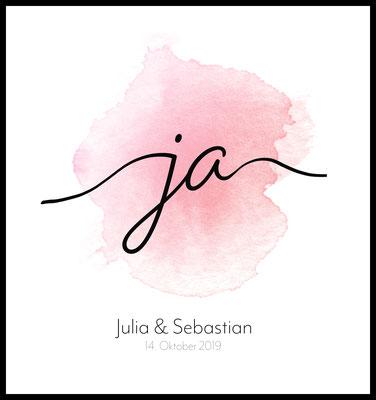 personalisiertes poster - geschenk - liebe - hochzeit - namen personalisiert - ja - love - Hochzeitsgeschenk - verlobung - heiraten - rosa