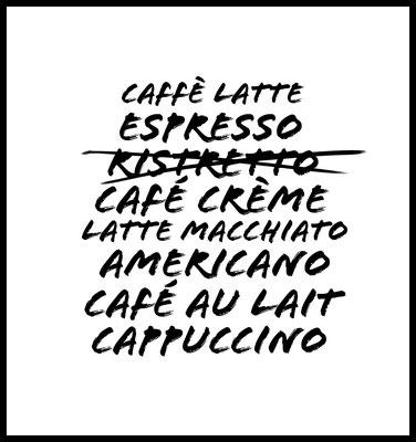 cafe premium poster - kaffeesorten - typografie - quotes - küche - wandbilder - dekoration