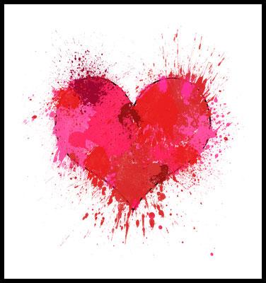 4onepictures - poster - herz - rot - spritzer - liebe - love - valentinstag - hochzeit - a4 - a3 - geschenk